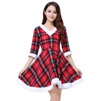 クリスマス 衣装 レディース サンタ コスプレ サンタクロース パーティー ドレス ロング スカート ワンピース 仮装 コスチューム 可愛い