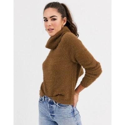 ヴィラ レディース ニット&セーター アウター Vila fluffy roll neck sweater Brown