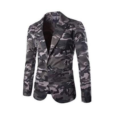 Buona stimolo (ボナスティモーロ) メンズ ジャケット テーラードジャケット 迷彩 柄 ミリタリー アウター 薄手 (グレー M)