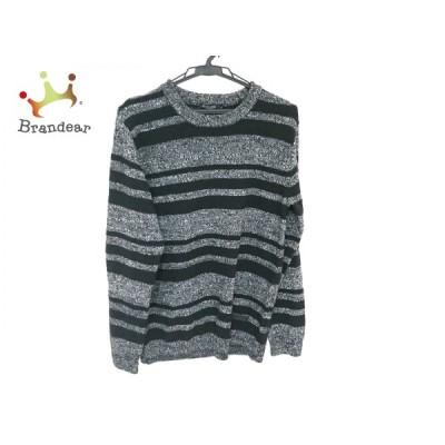 ブラックレーベルクレストブリッジ 長袖セーター サイズM メンズ 美品 黒×グレー ボーダー  値下げ 20210315