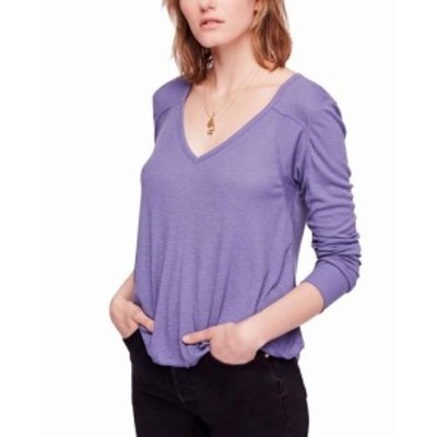 Free People フリーピープル ファッション トップス Free People NEW Blue Womens Size XS Ribbed V-Neck Long Sleeve Blouse