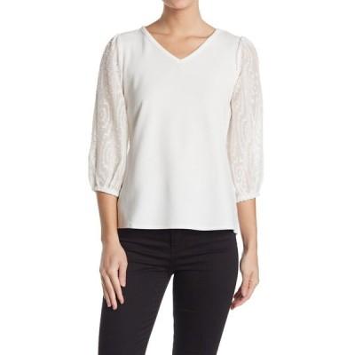 ラブバイデザイン レディース Tシャツ トップス Christina V-Neck Dot Sleeve Top IVORY