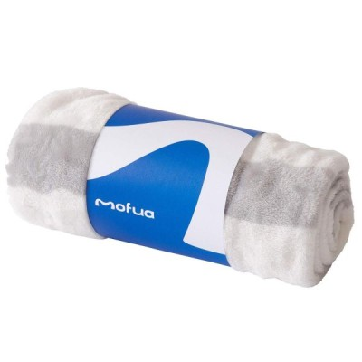 ナイスデイ mofua プレミアムマイクロファイバー毛布 ボーダー柄500006N1サイズ:ひざ掛け色:グレー
