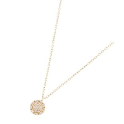COCOSHNIK(ココシュニック)K18ダイヤモンド クラスター取巻きネックレス 小