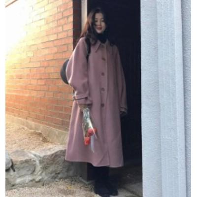 韓国 ファッション レディース ロングコート ステンカラーコート アウター オーバーサイズ ゆったり 大人可愛い カジュアル 秋冬