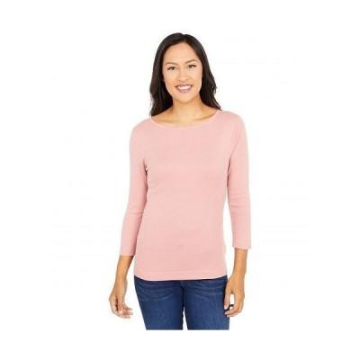 Three Dots スリードッツ レディース 女性用 ファッション Tシャツ 100% Cotton Heritage Knit 3/4 Sleeve British Tee - Ash Rose