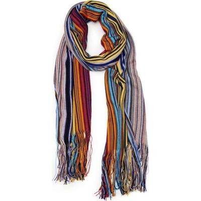 ミッソーニ MISSONI レディース マフラー・スカーフ・ストール Metallic Stripe Wool Blend Scarf Multi Yellow/Blue