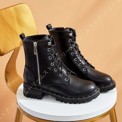 ショートブーツ レースアップ ブーツ 袴ブーツ レディース靴 大きいサイズ 編み上げブーツ レースアップブーツ ローヒール ファスナー ダンス ブーティ 黒 厚底