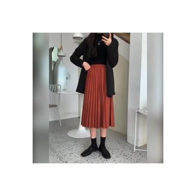 【送料無料】秋と冬 黒半スカート 女 韓国風 デザイン 感 伸縮性 ハイウエスト 中 | 346770_A64312-8073315