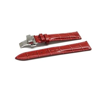腕時計 ベルト 16mm 17mm 18mm 19mm 20mm 21mm 22mm 24mm レザー クロコダイル型押し 牛 革 赤 プッシュ式 Dバックル シルバー l001re-pd-s