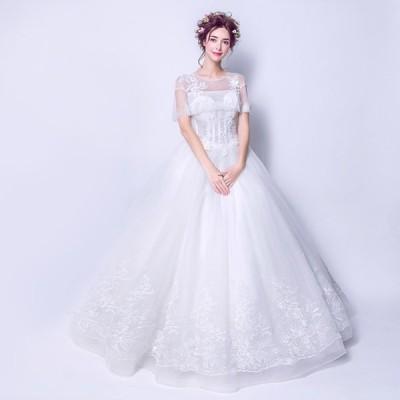 ウェディグドレス プリンセスラインドレス ドレス パーティードレス ロングドレス 花嫁 二次会 海外挙式 花嫁二次会 大きいサイズ 結婚式 ボレロ 安い 送料無料