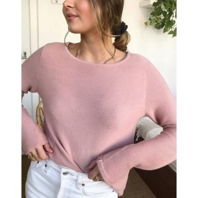 ヴィラ レディース ニット・セーター アウター Vila round neck lightweight sweater in pink