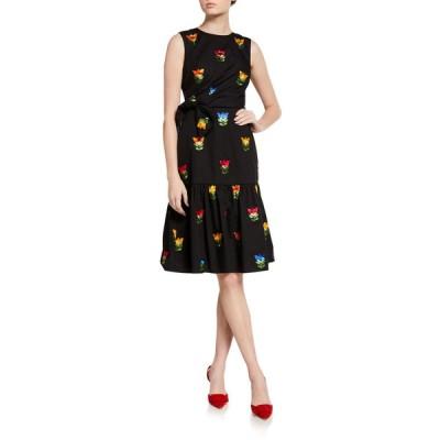 キャロライナヘレラ レディース ワンピース トップス Bowed & Gathered Dress