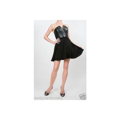 ドレス ネイブン  Naven Bombshell Faux Leather Top with Circle Skirt Dress in Black