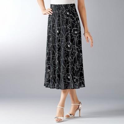 ベルーナ 軽やかネットプリントスカート 後総丈73cm 黒 L レディース