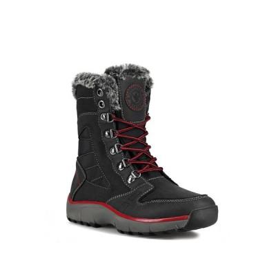 アクアサームバイサンタナカナダ レディース ブーツ&レインブーツ シューズ Nevis Faux Fur Lined Waterproof Boot BLACK RED PU