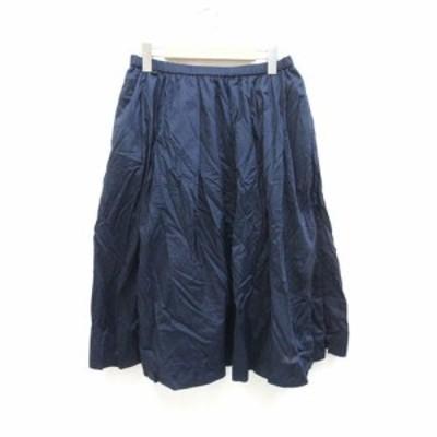 【中古】ユニクロ UNIQLO スカート 無地 シンプル ひざ丈 L 紺 ネイビー /ZB レディース
