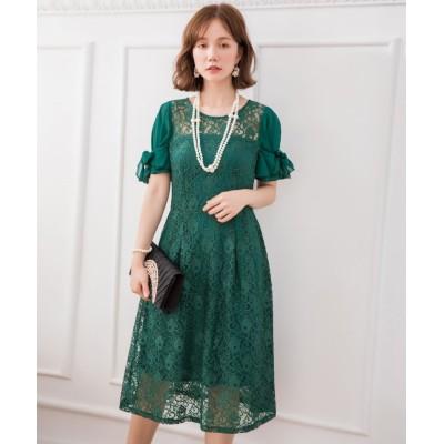 【ドレス スター】 2wayシフォンスリーブレースワンピース レディース グリーン Lサイズ DRESS STAR