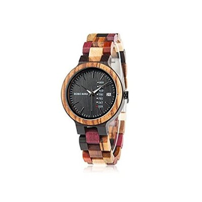 Womens Watches Wooden Colorful Bamboo Watches with Week Date Display Handma
