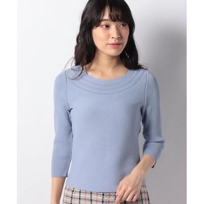 LAPINE BLANCHE/ラピーヌ ブランシュ 求心リブ編みニットセーター ブルー 38
