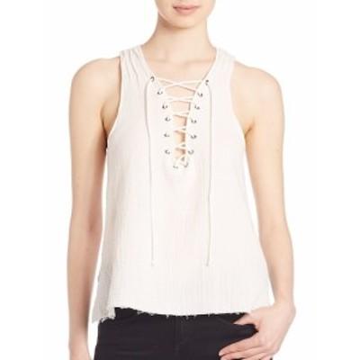 ロワ レディース トップス シャツ Lace-Up Cotton Top