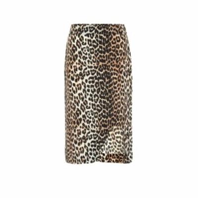 ガニー Ganni レディース ひざ丈スカート スカート Leopard-printed silk-blend skirt Leopard