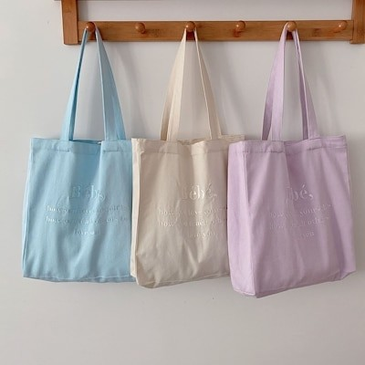 Yeyu / Korea NoirnineBebe大容量の刺繍入りキャンバスバッグイン韓国風学生トートバッグ女性