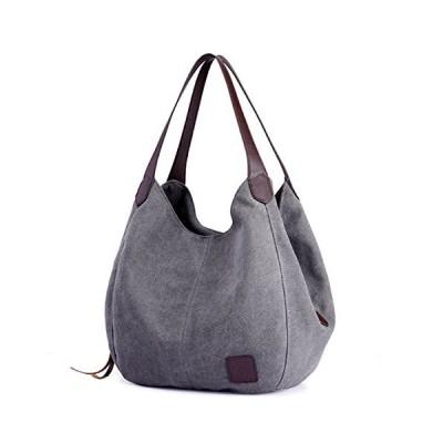 DOURR Women's Multi-pocket Shoulder Bag Fashion Cotton Canvas Handbag Tote