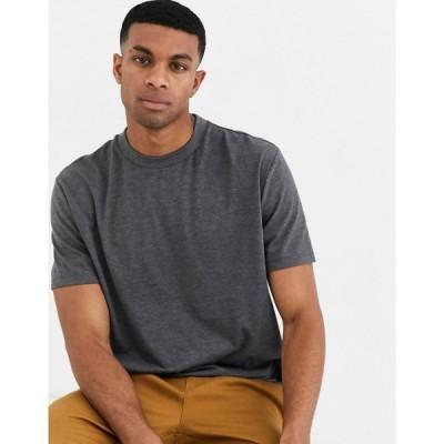 エイソス ASOS DESIGN メンズ Tシャツ トップス relaxed t-shirt with crew neck in charcoal marl チャコールグレー