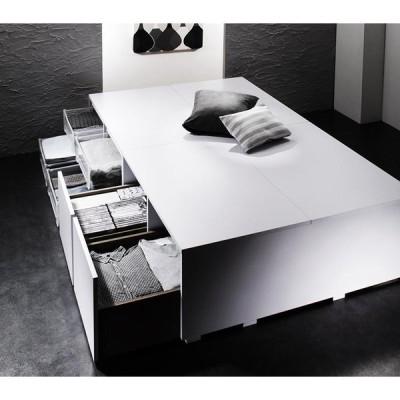 衣装ケースも入る 大容量収納ベッド 〔SCHNEE〕シュネー 〔ベッドフレームのみ・マットレスなし〕 引き出し2杯付 シングル 〔フレーム色〕ブラック