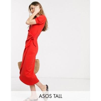 エイソス ASOS Tall レディース ワンピース ラップドレス ミドル丈 ワンピース・ドレス Asos Design Tall Wrap Midi Dress With Knot Front In Red レッド