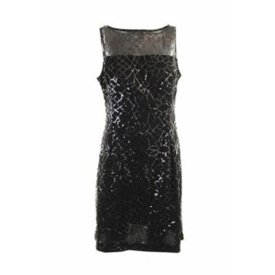 American  ファッション ドレス American living new black sleeveless with sequins illusion dress 10