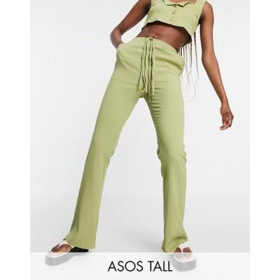 エイソス ASOS Tall レディース ボトムス・パンツ Tall Crinkle Flare Trouser With Tie Waist Co-Ord In Green グリーン