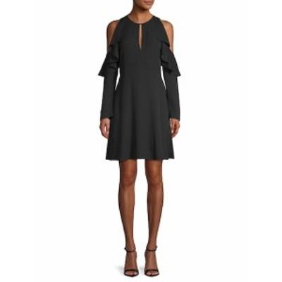 セオリー レディース ワンピース Sophronia Silk Ruffle Cold-Shoulder Dress