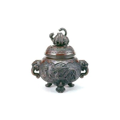香炉 四神獣 青銅製 紙箱入 高さ29.5×幅28.3×奥行21.3cm o67-09