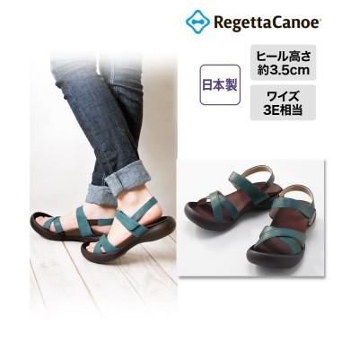 リゲッタカヌー クロスローヒールサンダル(CJFD-5326) サンダル, Sandals