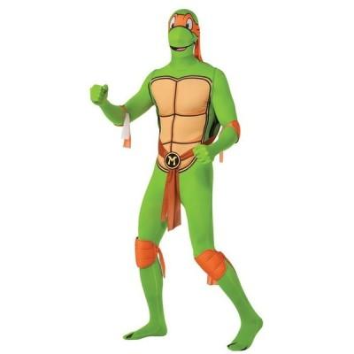 忍者 タートルズ ミケランジェロ 大人 男性用 全身タイツ シェル コスチューム TMNT 橙 オレンジ ティーンエイジ ミュータント