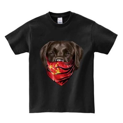 【ラブラドールレトリバー・バンダナ・ソビエト連邦】メンズ 半袖 Tシャツ ブラック