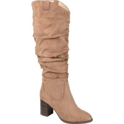 ジュルネ コレクション Journee Collection レディース ブーツ ロングブーツ シューズ・靴 Aneil Extra Wide Calf Knee High Slouch Boot Taupe Faux Suede