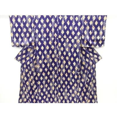 宗sou 未使用品 雨縞に草花模様小紋着物【リサイクル】【着】