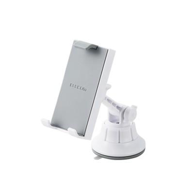 [ELECOM(エレコム)]  車載ホルダー スマホ・タブレットスタンド 【繰り返し使えるゲル吸盤タイプ】 幅10.5cm~18.5cmまで対応 ホワイト P-CARTB01WH[▲]