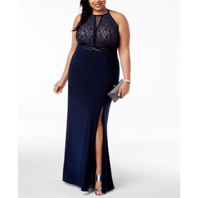 モルガン Morgan & Company レディース パーティードレス 大きいサイズ ワンピース・ドレス Trendy Plus Size Open-Back Gown Navy/Nude