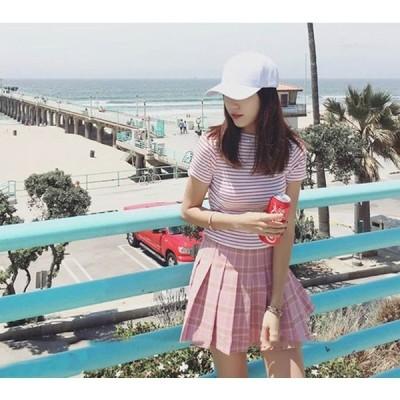 プリーツスカート 可愛い スカート チェック柄 レディース ミニスカート きれいめ 優しい色 2カラー