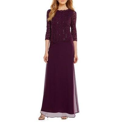 アレックスイブニングス レディース ワンピース トップス Sequined Lace Scalloped Bodice Chiffon Skirted Gown Deep Plum
