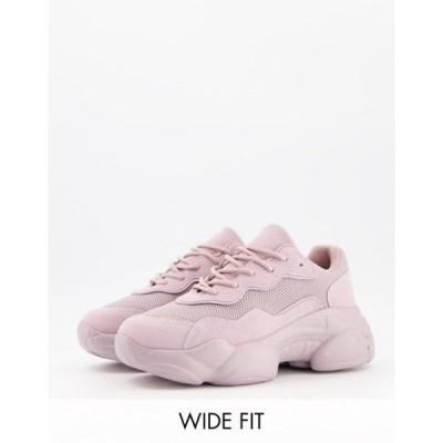 エイソス レディース スニーカー シューズ ASOS DESIGN Wide Fit Divine chunky sneakers in lilac