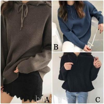 レディースニットフード付きセーター長袖シンプルゆったりオーバーサイズブラックネイビーグレーフリーサイズ