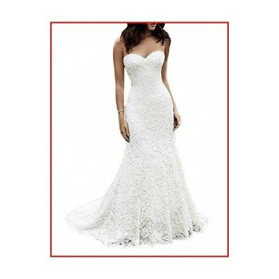 【新品】SIQINZHENG Women's Sweetheart Full Lace Beach Wedding Dress Mermaid Bridal Gown White【並行輸入品】