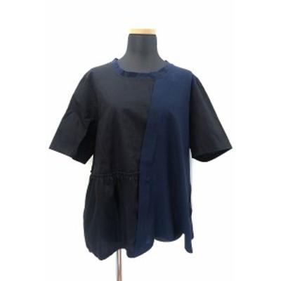 【中古】未使用品 レスピーギ RESPIGHI 異素材 切替 半袖 ドッキング シャツ ブラウス 40 ネイビー 紺 ブラック 黒