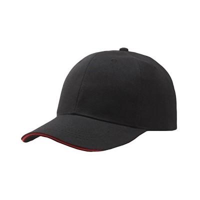 WHITE FANG(ホワイトファング) ツバライン シンプル 無地 ベースボールキャップ メンズ レディース CA001 (01:ブラック&赤ライン