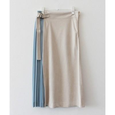 スカート スエード×プリーツスカート